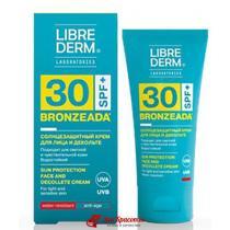 Крем солнцезащитный для лица и зоны декольте SPF 30 Sun Protection Face and Decollete Cream Bronzeada Librederm, 50 мл