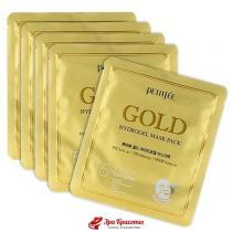 Гидрогелевая маска для лица с золотым комплексом +5 Petitfee Gold Hydrogel Mask Pack, 30 г*5 шт