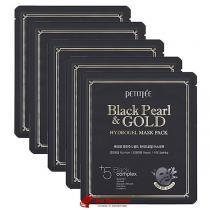 Гидрогелевая маска с золотом и черным жемчугом Petitfee Black Pearl and Gold Hydrogel Mask Pack, 5 шт