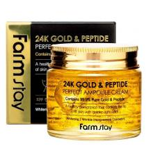 Крем ампульный с золотом и пептидами FarmStay 24K Gold & Peptide Perfect Ampoule Cream, 80 мл