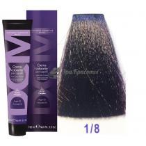 Крем-краска для волос 1/8 черный фиолетовый Hair color cream DCM. 100 мл