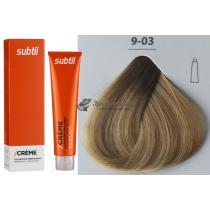 Стойкая крем-краска для волос 9.03 натурально-золотистый очень светлый блондин Creme Ducastel Subtil, 60 мл