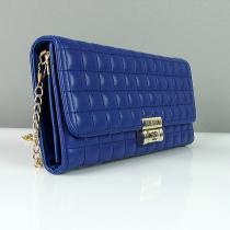 Клатч маленькая сумочка женская кожзам синяя Chanel 2009