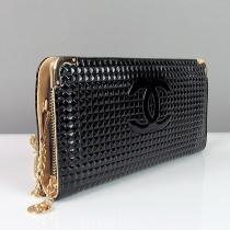 Кошелек клатч женский на змейке лаковый черный кожзам Chanel 836-1